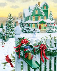 Holiday Mail is one of Springbok's 1000 Piece Jigsaw Puzzles for adults. This landscape themed Christmas puzzle features fully interlocking pieces. Christmas Scenes, Noel Christmas, Christmas Greetings, Winter Christmas, Christmas Crafts, Christmas Decorations, Xmas, Christmas Morning, Illustration Noel