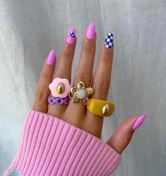 Nail Design Stiletto, Nail Design Glitter, Stylish Nails, Trendy Nails, Fimo Ring, Polymer Clay Ring, Nail Jewelry, Jewellery, Funky Jewelry