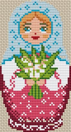 Russian Doll Cross Stitch Chart (Doll Purple) #ebay #Home & Garden