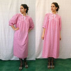 60s Cotton Lingerie • Vintage Home Dress • Pink Floral Night Gown • Lace Collar • Lolita Dress • Short Sleeve Robe • Size Free by GypsySoulVTGboutique on Etsy