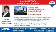 Najúspešnejší maklér mesiaca marec v našej kancelárii Janka Michnová odporúča túto nehnuteľnosť >>http://www.remax-slovakia.sk/reality/detail/85303/predaj-domu-110-m2-sunava/re-max-benard/M2452/  Všetky nehnuteľnosti maklérky - nájdete na www.re-max.sk/jankamichnova  Hľadáte iný druh nehnuteľnosti alebo chcete predať svoju nehnuteľnosť? Sme tu pre Vás >> www.re-max.sk/benard  #REMAXBenard #reality