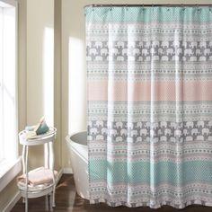Elephant Stripe Shower Curtain, Turquoise/Pink