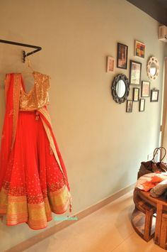 Madsam Tinzin Summer 2014 collection preview coral lehenga with heavy gold sequinned blouse http://www.getstyleathome.com/ #getstyleathome #orangelehenga