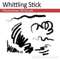 """""""Whittling Stick"""" - Photoshop Oil Paintbrush   A sharp edged, very dry oil brush for Photoshop with lots of texture. With a fairly wide range in size it performs best as a medium detailer but can be used as a strong sketching brush."""