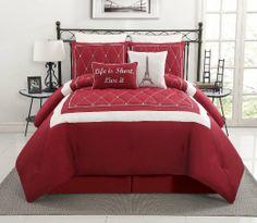 Found it at Wayfair - Victoria Classics Versailles DD 8 Piece Comforter Set Guest Bedrooms, Bedroom Sets, Bedroom Decor, Baby Bedroom, Master Bedroom, Red Comforter Sets, Duvet Sets, Embroidered Bedding, Spare Room
