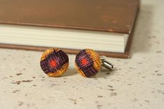 SILK CUFFLINKS  unique covered button style cuff links by SeaOfPossibilities