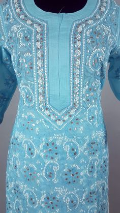 Alluring blue with gorgeous gotta patti and dense Chikankari work Indian Designer Wear, Hand Stitching, Designer Dresses, Fashion Ideas, Patterns, Clothes For Women, Youtube, Clothing, How To Wear