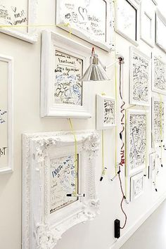 Great idea for campus office. Like a permanent white board. Also framing a white board is a good idea . Inspiration Drawing, Deco Restaurant, Home And Deco, Elegant Homes, Decoration, Picture Frames, Picture Wall, Wall Decor, Wall Art