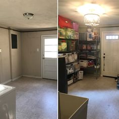 We transformed an outdated laundry room into a modern, functional laundry and storage room.  A new washer and dryer were added, as well as plumbing for a utility sink.  Warped shelves were replaced with cabinets.  Shelves were added to empty floor space to maximize vertical storage.  The renovation also included a light fixture, painting, and new doors. #laundry #laundryroom #storage #organization #organizing #basement #utilityroom #mudroom #decluttering #storagespace #reno #renovation