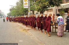 Monks queuing for alms, Burma