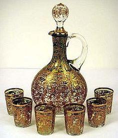 Antique Moser Bohemian Decanter & Glasses