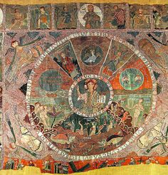 Tapestry of the Creation, 11th – 12th century, tapestry, 365 × 470 cm, Cathedral of Girona, Catalonia / Tapís de la Creació, segues XI – XII, tapís, 365 × 470 cm, Catedral de Girona, Catalunya