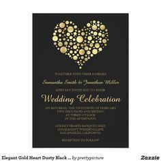 Elegant Gold Heart Dusty Black 5x7 Wedding Invitation. Artwork designed by prettypicture