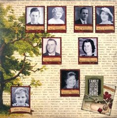 Family Tree right side of double page created with Heritage collection by Leonie and Teena for BoBunny Club Kits. Visit www.myscrappinsho... to find out more. #BoBunny