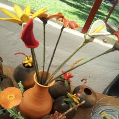 Flowers 2014 Textile Sculpture, Planter Pots, Sculptures, Wire, Felt, Textiles, Flowers, How To Make, Felting