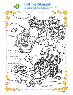 Here is an idea for your older sponsored children - Hidden Picture Activity: Find the Diamond! Printable Games for Kids) Pirate Day, Pirate Birthday, Pirate Theme, Pirate Coloring Pages, Colouring Pages, Pirate Treasure, Treasure Maps, Pirate Words, Hidden Picture Puzzles