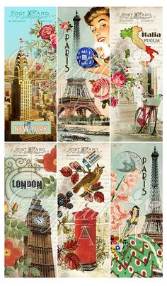 Collage digital de moda set de 6 marcadores por bydigitalpaper