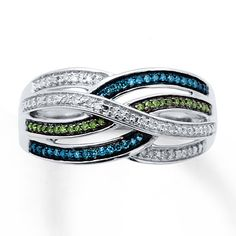 Blue/Green Diamonds 1/5 ct tw Ring Sterling Silver Yes Indeed :) That's next on the list for the hubby to get me !!!