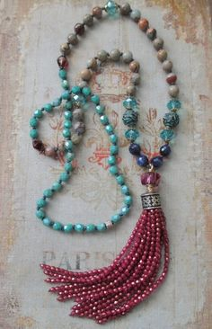 Knotted tassel necklace Sunset Blues pink blue by slashKnots