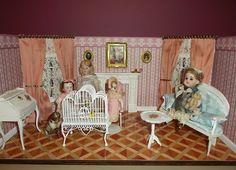 Luxurious Salon for mignonettes or chambre de poupées, victorian pink stripes