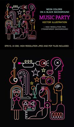 Music Party Neon Sign - Vector Illustration AI, EPS
