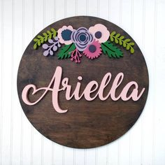 18 Round Floral Crown Name Wood Sign Wood cut out - boy nursery Baby Name Signs, Family Name Signs, Nursery Name, Nursery Signs, Handmade Home Decor, Handmade Decorations, Baby Room Decor, Nursery Decor, Floral Nursery