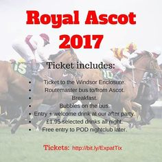 Only 17 Round 2 Royal Ascot 2017 tickets left. If you missed out on the super cheap Early Bird tickets this is your last chance to get them at a discount before the price increases. 80 tickets on sale for a limited time only. Get them via our facebook page and make sure you RSVP to our event invite for updates! #aussiesinlondon #royalascot2017