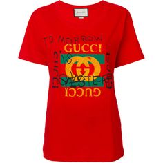 Gucci Coco Capit'n Logo T-Shirt (1.790 BRL) ❤ liked on Polyvore featuring tops, t-shirts, momma, red, loose fitting t shirts, vintage cotton t shirts, red t shirt, logo tee and loose fit t shirts