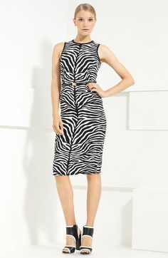 Michael Kors Zebra Print Stretch Cady Sheath Dress