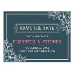 #flower - #Blue & White Floral Wedding Save the Date Postcard