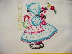 6 Cute Vintage Embroidered Dutch Girls Days of Week Striped Tea Dish Towels | eBay