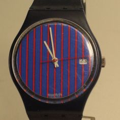 Rare Swatch Swiss Watch from 1986 , Works Perfect ,Blue Dial with Red Stripes
