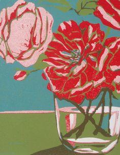 Wild Roses, original linocut print, handmade by Lisa VanMeter @Etsy