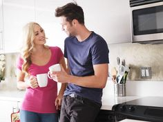 happy couple drinking coffee by rezart on Creative Market (Photos, People)