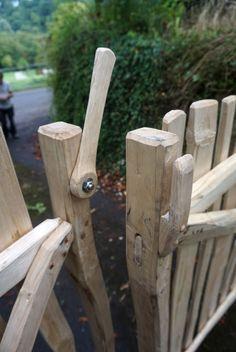 Cleft chestnut gate detail. With wooden latch - Ditchfield Crafts