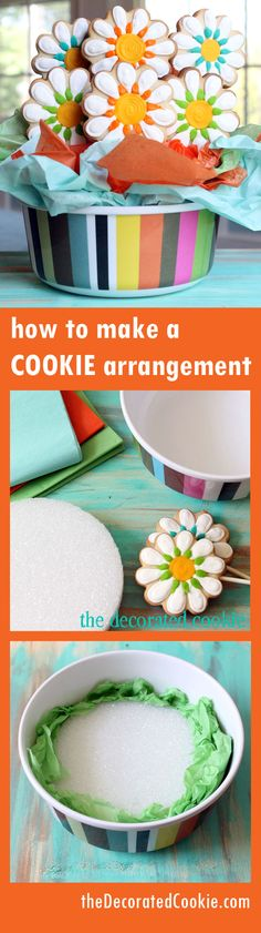 Learn how to make a cute cookie arrangement! - From thedecoratedcookie.com