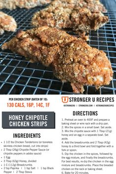 This high protein, low calorie honey chipotle chicken crispers copycat is sure to satisfy any Healthy Snacks For Diabetics, Easy Healthy Dinners, Healthy Eating, Healthy Recipes, Clean Eating, Healthy Food, Dinner Recipes For Kids, Kids Meals, Honey Chipotle Chicken