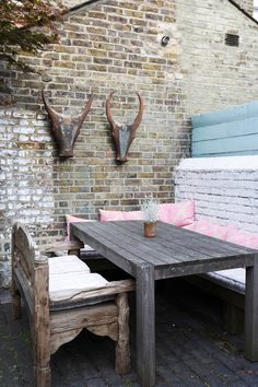 A London Home filled with Travel Finds – Design*Sponge Rustic Outdoor Spaces, Outdoor Decor, Outdoor Furniture, Rustic Painted Furniture, Outside Living, Indoor Outdoor Living, Outdoor Settings, Rustic Style, Rustic Chic