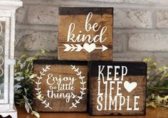 Set of 3 Blocks Wood Sign Home Decor Wood by GoodDaySunshineGB