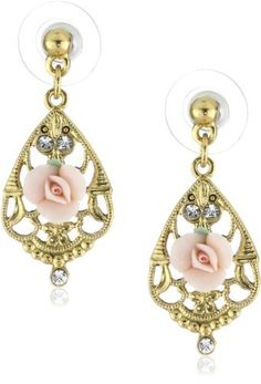 1928 Jewelry Essentials GoldTone Simulated Pearl Pink Porcelain