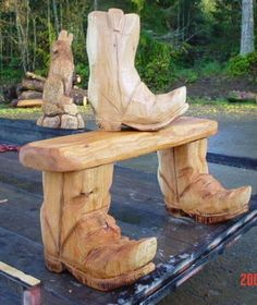 Boot bench chainsaw carving
