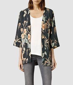 Womens Kyoto Kimono Jacket (Ink) - product_image_alt_text_1