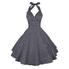 Maggie Tang Vintage Women's 1950s dots Rockabilly Size S Color Black White