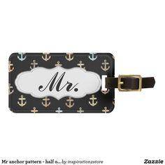 Mr anchor pattern - half of Mr & Mrs set Luggage Tag