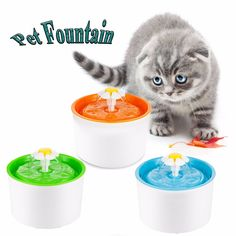 Buy  Fashion Automatic 1.6L Flower Style Dog Cat Kitten Water Drinking Pet Fountain Pet Bowl Drink Dish Filter Orange/Blue/Green ...Click link for Buy