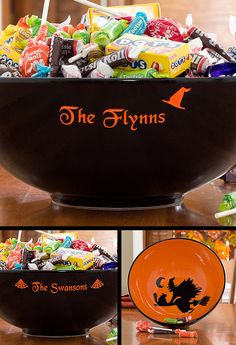 This Halloween Candy Bowl is so cool! They actually engrave the bowl with your family name and you can pick if you want a witch hat or spider webs and once you give away the candy there's a cool design at the bottom of the bowl! Cute hostess gift idea for a Halloween Party, too! #Halloween #Candy #Witch #Spider