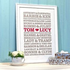 Wedding Shower Gift Idea!!! LOVE LOVE LOVE!!! ..….… actually That is a terrible gift.  Hansel & Gretel were siblings. Then Yoko Ono & John Lennon, really? She broke up the band.  Romeo & Juliet died as teenagers.   Personally I wish for a long, simple life, full of love.
