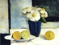 """""""Citrons et bouquet blanc"""")-Bénédicte Garnier-Fihey-Oil on canvas"""