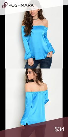 "NWT BEAUTIFUL SKY BLUE OFF THE SHOULDER TOP BEAUTIFUL SKY BLUE OFF THE SHOULDER TOP!!!!  Off Shoulder Long Sleeve Silk Top, With Cuffed Sleeves.  Fabric Content: 100% POLYESTER. Measurement: L: 21"" B: 34"" W: 36"". NWT!! Tops"