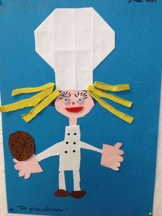 Vouwen en vrij knippen en kleven de pizzabakker Art Lessons, School, Bakery Business, Color Art Lessons, Art Education